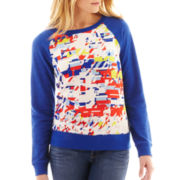 jcp™ Long-Sleeve Mixed Media Sweatshirt- Petite
