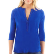jcp™ 3/4-Sleeve Open-Neck Henley