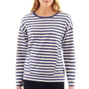 jcp™ Long-Sleeve Striped Sweatshirt