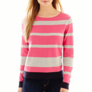 Liz Claiborne® Long-Sleeve Colorblock-Striped Sweater