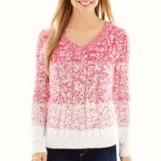 Liz Claiborne® Long-Sleeve Ombré Cable Sweater