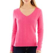 Liz Claiborne® Long-Sleeve Textured Sweater