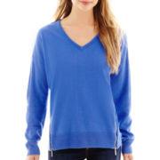 Liz Claiborne® Long-Sleeve Side-Zip Sweater