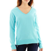 Liz Claiborne® Long-Sleeve Side-Zip Sweater