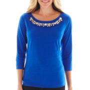 St. John's Bay® 3/4-Sleeve Jeweled Tee