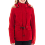 YMI Patch Pocket Faux Fur-Trim Hooded Jacket