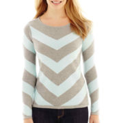 Liz Claiborne Long-Sleeve Chevron Sweater