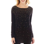 Worthington® Long-Sleeve Embellished Tunic Sweater