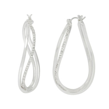 jcpenney.com | Silver Reflections™ Cubic Zirconia Silver-Plated Wavy Oval Hoop Earrings