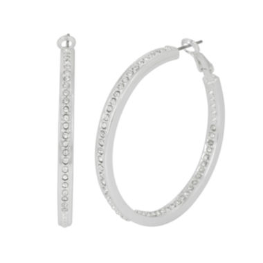 jcpenney.com | Silver Reflections™ Pure Silver Over Brass Crystal Hoop Earrings