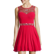 Bee Darlin Sleeveless Embellished-Bodice Short Dress