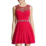 Bee Darlin Sleeveless Embellished-Bodice Short Dress - Juniors