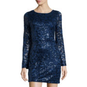 Love Reigns Bell-Sleeve Sequin Lace Dress- Juniors