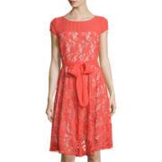 Danny & Nicole® Cap-Sleeve Lace Fit-and-Flare Dress