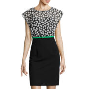 Alyx® Dot Print Cap-Sleeve Sheath Dress