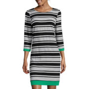 Ronni Nicole 3/4-Sleeve Stripe Shift Dress
