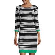 Ronni Nicole 3/4-Sleeve Stripe Shift Dress