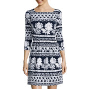 Trulli 3/4-Sleeve Scroll Embossed Fit-and-Flare Dress