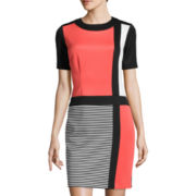 Studio 1® Short-Sleeve Colorblock Scuba Dress