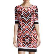 Studio 1® Elbow-Sleeve Geo Print Shift Dress