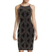 Blu Sage Sleeveless Beaded Sheath Dress