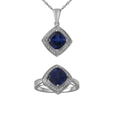jcpenney.com | Lab-Created Blue Sapphire and Diamond-Accent Necklace and Ring Set