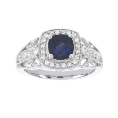 jcpenney.com | Blooming Bridal 1/4 CT. T.W. Diamond and Color-Enhanced Sapphire Ring