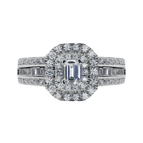 Modern Bride® Signature 1⅜ CT. T.W. Diamond 14K White Gold Emerald-Cut Bridal Ring