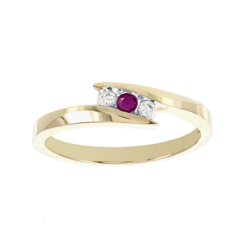 Lumastar Lead Glass-Filled Ruby and Diamond-Accent Promise Ring Yellow Gold Promise Ring