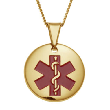 jcpenney.com | Personalized Gold-Tone IP Stainless Steel Circle Engraved Medical ID Pendant Necklace