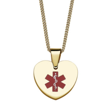 jcpenney.com | Personalized Gold-Tone IP Stainless Steel Heart Engraved Medical ID Pendant Necklace