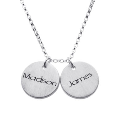 jcpenney.com | Personalized Sterling Silver Mini Engraved Name Two Disc Pendant Necklace