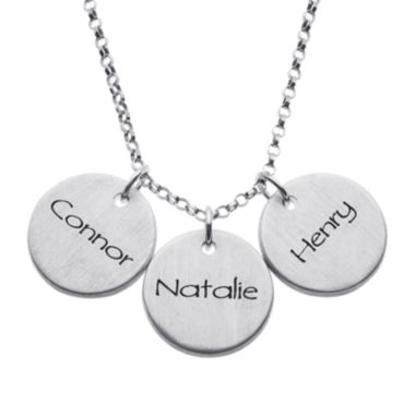 jcpenney.com | Personalized Sterling Silver Mini Engraved Name Three Disc Pendant Necklace