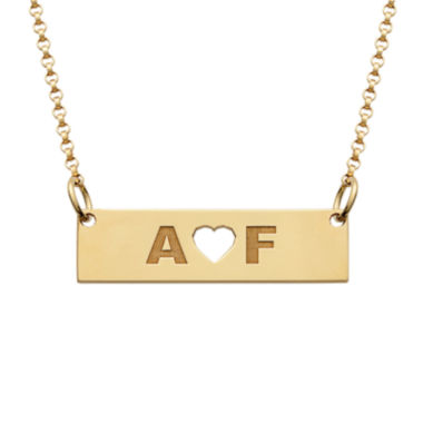 jcpenney.com | Personalized 18K Yellow Gold over Silver Two Initials with Heart Bar Necklace