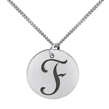 jcpenney.com | Personalized Sterling Silver Initial 15Mm Disc Pendant Necklace