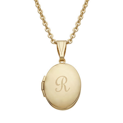 Personalized gold over brass childs engraved initial locket pendant personalized gold over brass childs engraved initial locket pendant necklace mozeypictures
