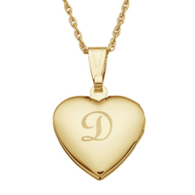jcpenney.com | Personalized Gold-tone over Brass Girls Engraved Heart Locket Pendant Necklace