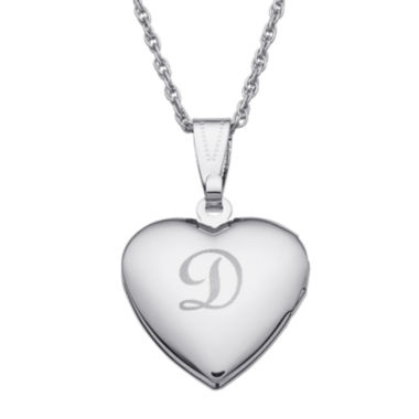 jcpenney.com | Personalized Silver over Brass Girls Engraved Heart Locket Pendant Necklace
