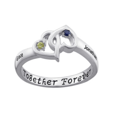 "jcpenney.com | Personalized ""Together Forever"" Engraved Birthstone Hearts Ring"