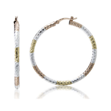 jcpenney.com | 14K Gold Over Sterling Silver Tricolor Hoop Earrings