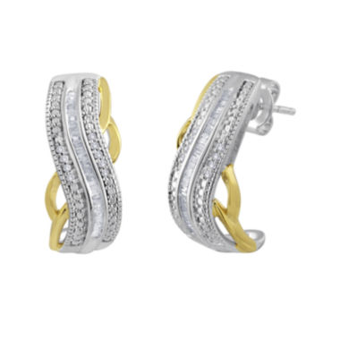 jcpenney.com | 1/4 CT. T.W. Diamond Hoop Earrings in Sterling Silver and 14K Yellow Gold Accent