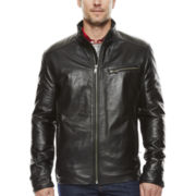 Straight-Bottom Lambskin Leather Jacket