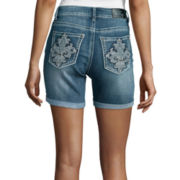 Love Indigo Fleur-de-Lis Back Pocket Denim Shorts