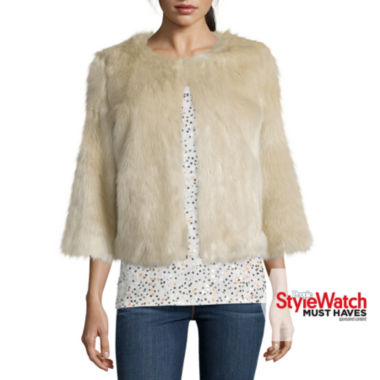 jcpenney.com | Stylus™ 3/4-Sleeve Faux-Fur Jacket