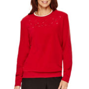 Alfred Dunner® Long-Sleeve Embroidered Fleece Top