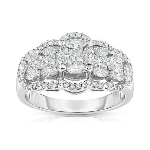 Womens 1 1/3 CT. T.W. White Diamond 14K Gold Cocktail Ring
