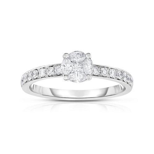 Womens 1/2 CT. T.W. Genuine White Diamond 14K Gold Cocktail Ring