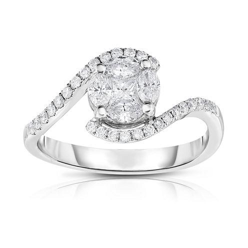 Womens 5/8 CT. T.W. White Diamond 14K Gold Bypass Ring