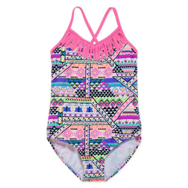 jcpenney.com | St. Tropez Girls Solid Sketch One Piece With Fringe Swimsuit