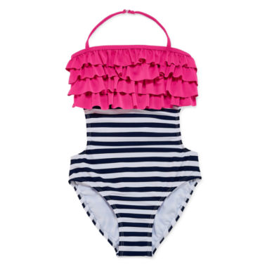 jcpenney.com | St. Tropez Girls Solid Cascade Navy Stripe With Pink Ruffle